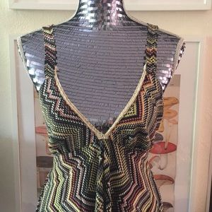EUC Urban Nomad Rainbow Chevron Maxi Dress | M